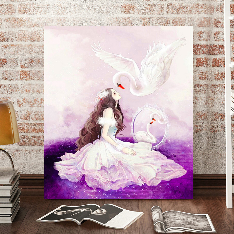 Swan full diamond princess diamond spire cube diamond drill painting the living room painted masonry drill 5d embroidery stitch cartoon characters