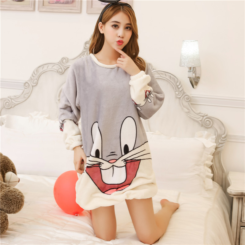 feb751fdb6 Get Quotations · Sweet and cute cartoon princess nightgown coral flannel  pajamas women autumn and winter women with disabilities
