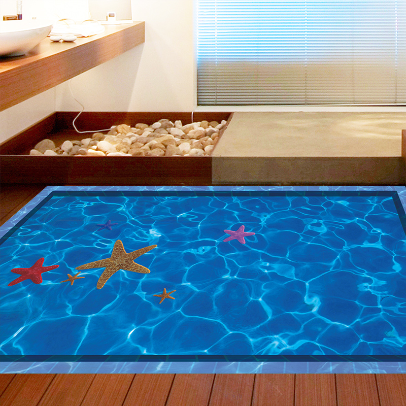 Swimming pool stereoscopic 3d visual sense floor stickers wall stickers removable wall stickers living room bathroom toilet waterproof decorative painting supplies