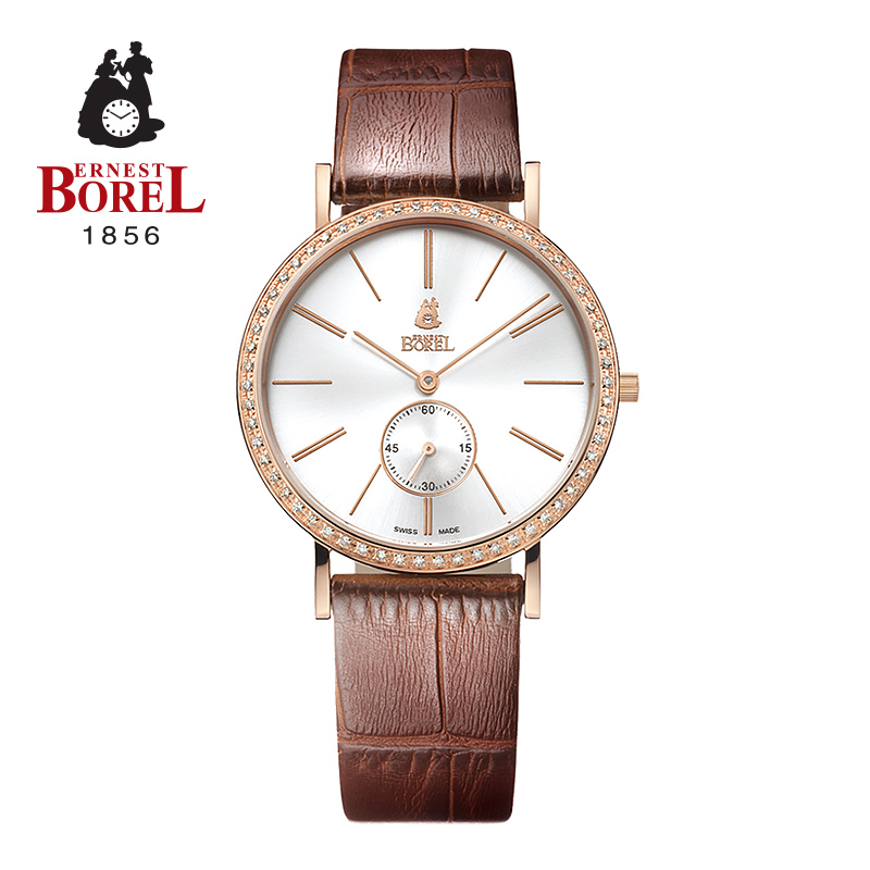 Switzerland borel ernestborel elegant series quartz male watch waterproof watch leather belt elegant extravagance