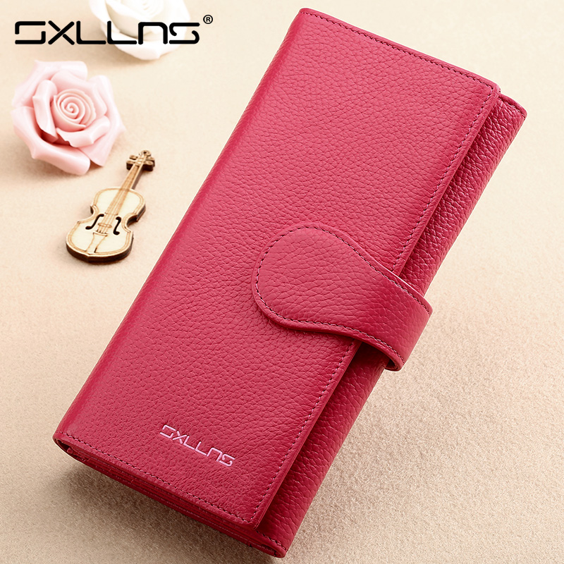 Sxllns wallet female long wallet leather wallet female student wallet sweet solid color candy colored clutch bag clutch clutch bag