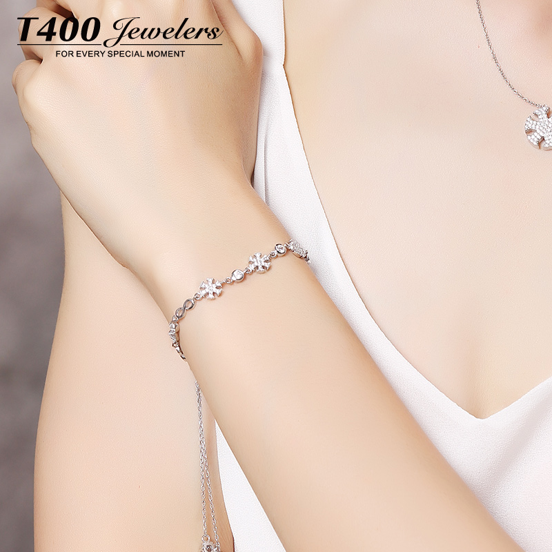 T400 s925 silver bracelet female korean version of sweet fashion jewelry personalized birthday gift snow story