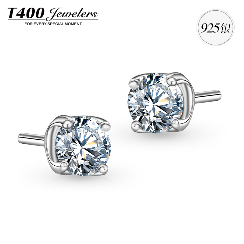 T400 swarovski zircon s925 silver earrings fashion earrings korean temperament female hypoallergenic