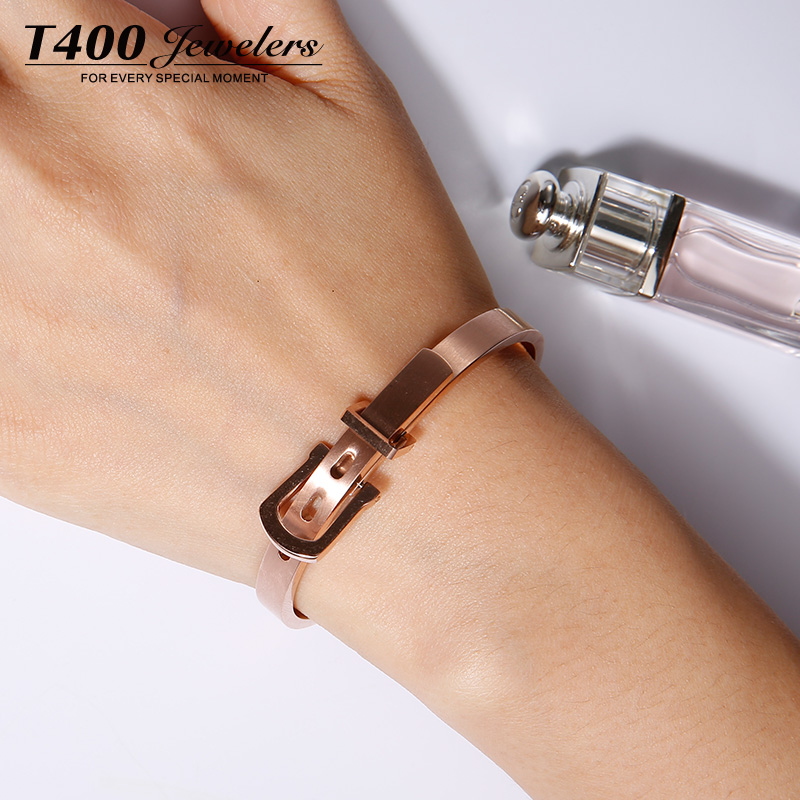 T4002015 rose gold bangle bracelet couple female south korean jewelry bracelet color gold bracelet female horseshoe buckle belt buckle accessories cable love