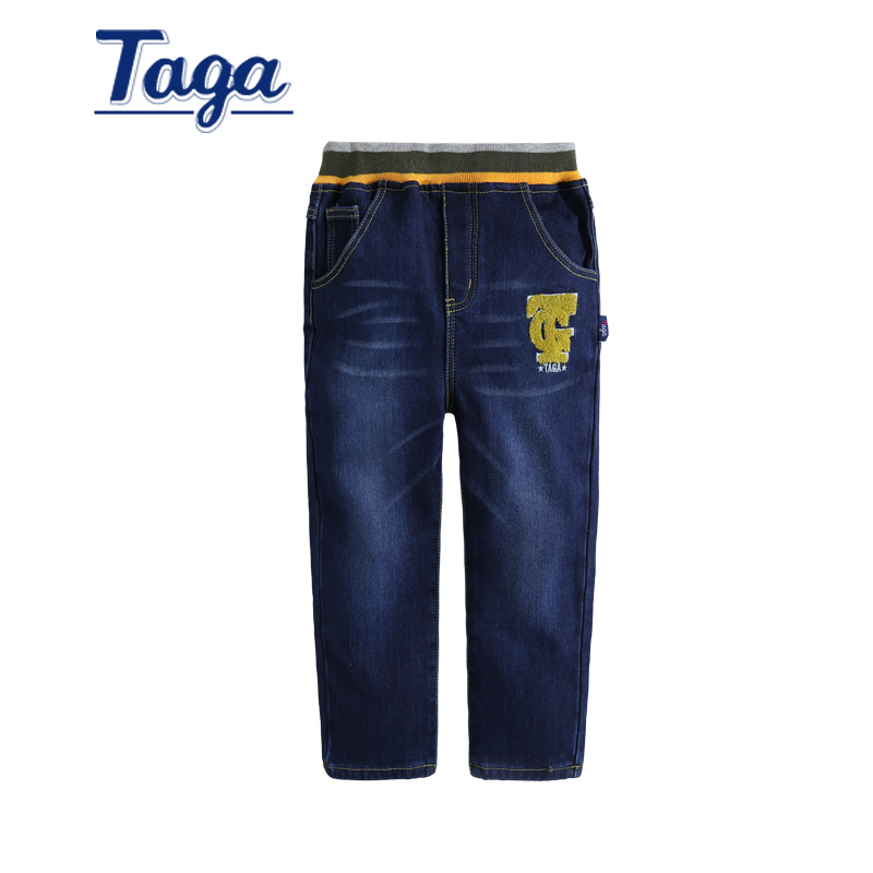 Taga kids boys plus velvet jeans warm pants boys 2015 winter new big virgin denim trousers