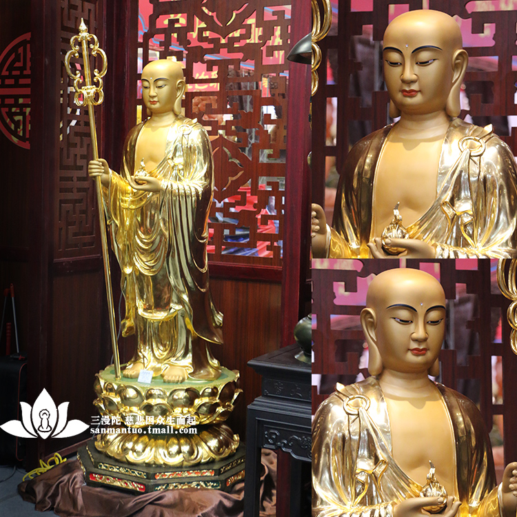 Taiwan copper paste gold lotus station like earth store bodhisattva jizo statues of buddha statues ornaments high 196 cm