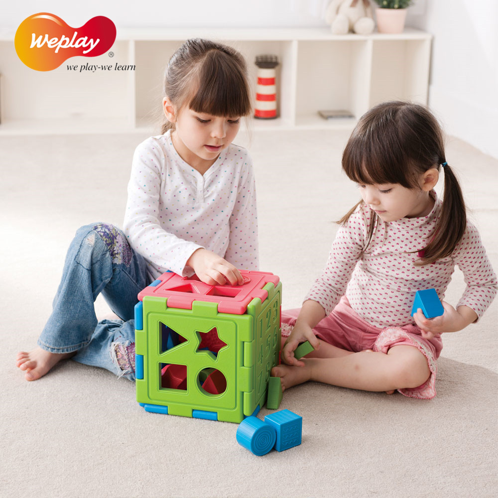 Taiwan imported toys cognitive box shape weplay early to teach sensory integration equipment plastic building blocks building creative product