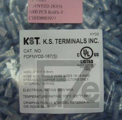 Taiwan kin hing kst FDFNYD2-187 (5) nylon fully insulated copper sleeve with female end of the terminal 4.8 plug spring