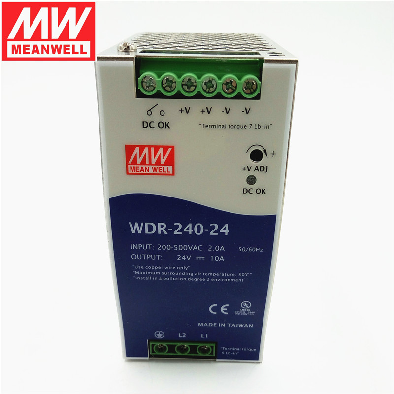 Taiwan meanwell switching power supply rail WDR-240-48 w 48v5a single phase 240 v input pfc ultrathin