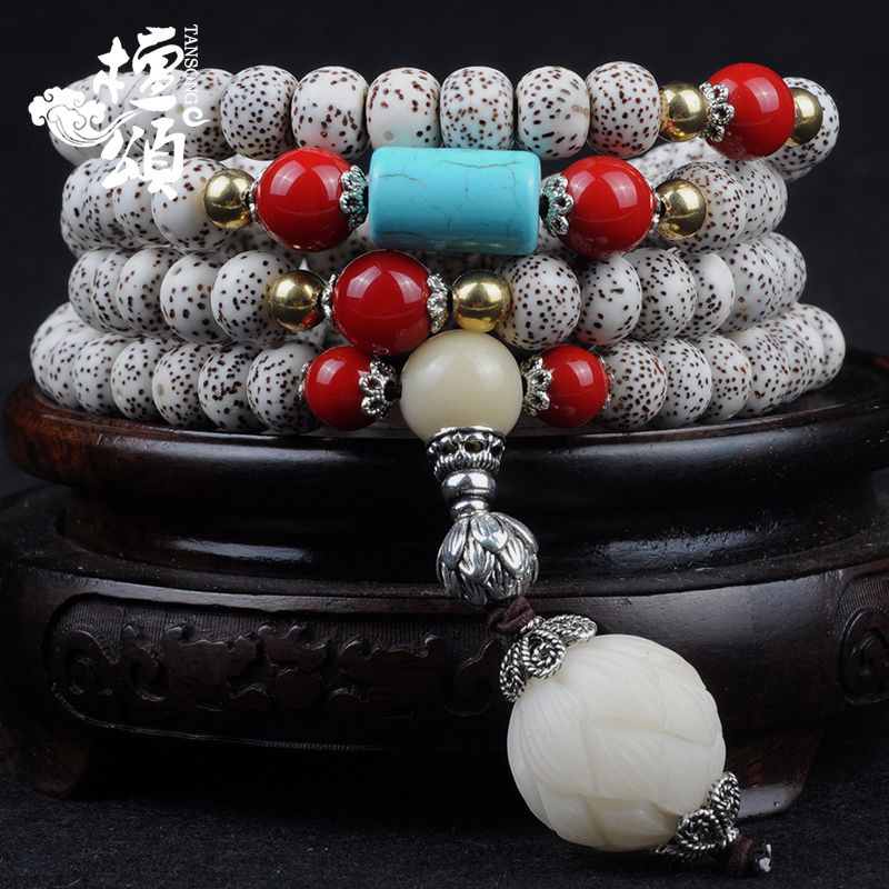 Tan chungé¢é¢lunar January natural xingyue bodhi bracelets month high density along the white beads nepal 108 buddhist prayer beads paragraph calaite