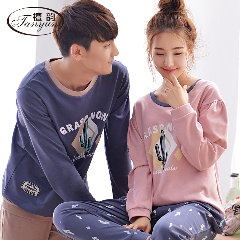 Tan yun couple pajamas cotton long sleeve spring and autumn cotton men and ladies long sleeve casual summer suit tracksuit