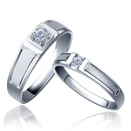 Tang autumn k gold/pt950 platinum male/female 20 points natural diamond wedding ring/couple on the ring ring