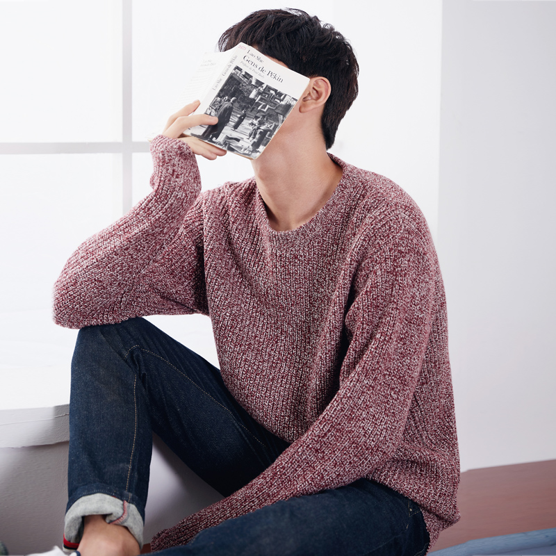 Tang lion 2016 dongkuan male adolescent students hedging round neck sweater men sweater korean version of the solid color sweater