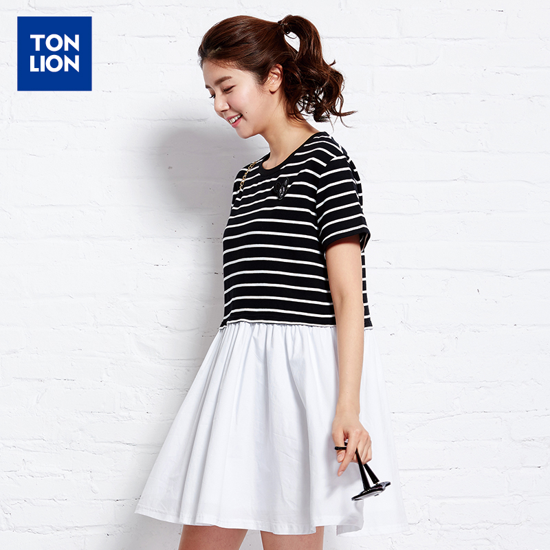 Tang lions ladies 2016 summer new dress stitching striped shirt t-shirt solid color hem pleated dress