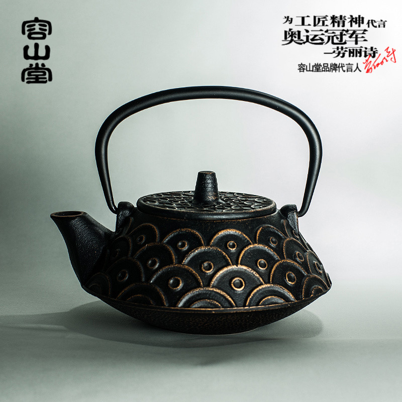 Tang su yun darongshan interfax pattern moire antique cast iron teapot cast iron pot in southern japan uncoated