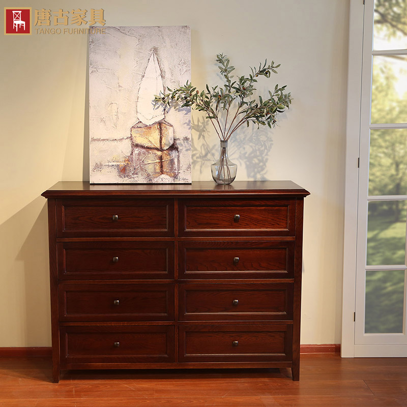 Tangguh all solid wood oak wood chest of drawers drawers american remodulade water-borne paint green wood furniture