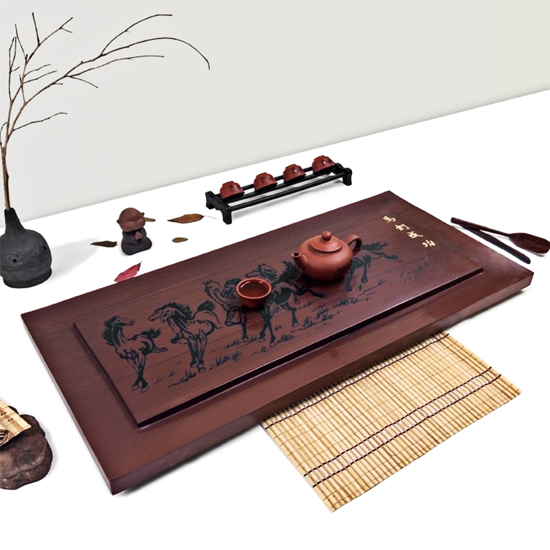 Tao cubic sandalwood inblock ruby stone natural black stone stone stone tea tray upscale small tea sets tea sea