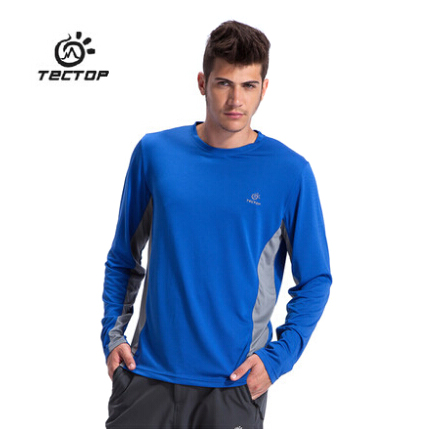 Tectop genuine men's round neck long sleeve wicking t-shirt fast drying polyester mesh wicking moisture wicking t-shirt