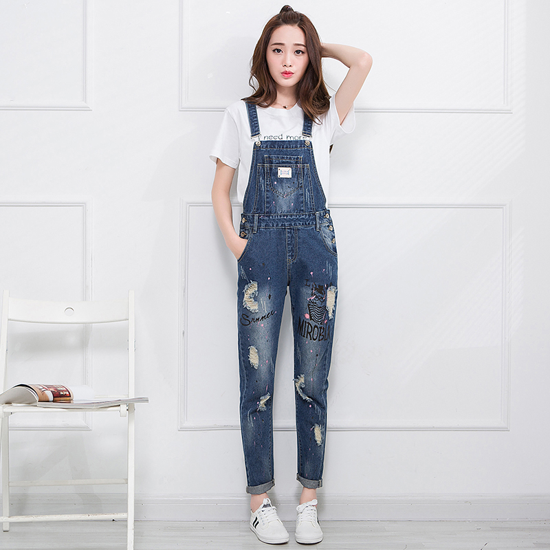 90e46615acf Get Quotations · Teenagers fall paint points jeans frayed pants suspenders  trousers pants female autumn and cute girl fashion