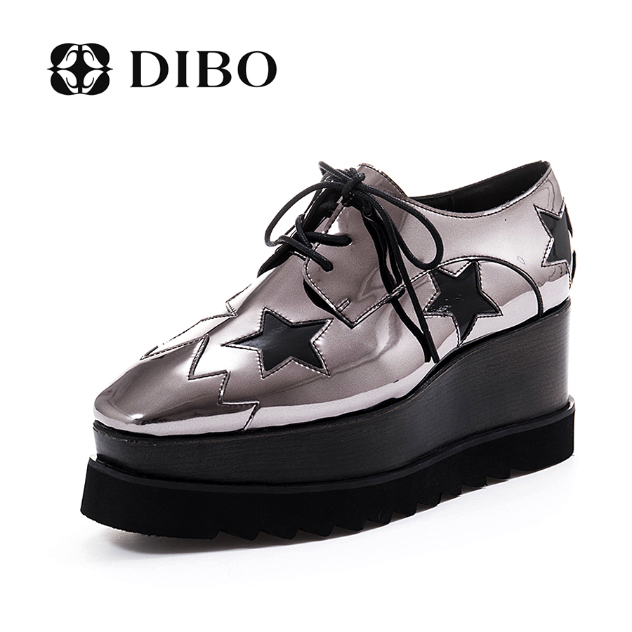 Tellurium platinum dibo new european and american fashion stitching shoes square head shallow mouth shoes platform shoes platform shoes lace shoes tide shoes