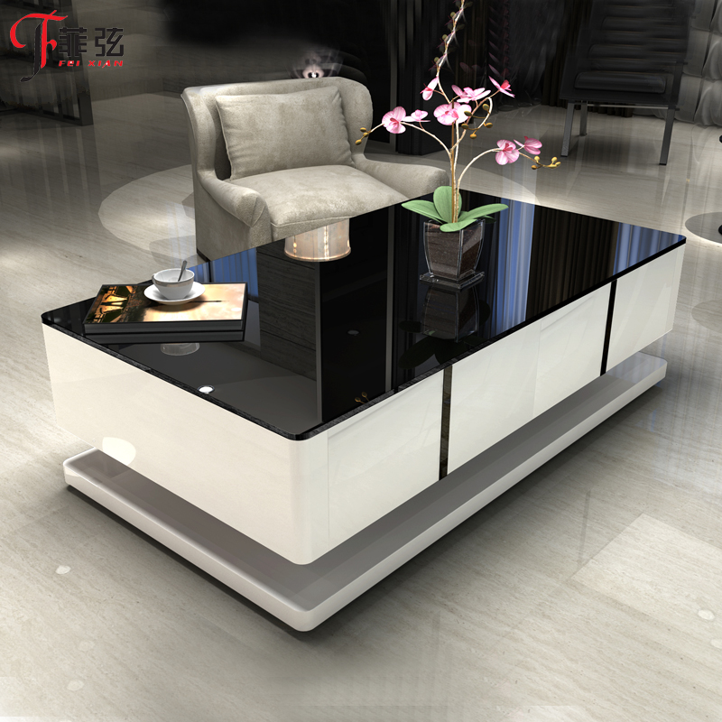 Tempered glass coffee table modern minimalist fashion small apartment living room tea table creative steel piano paint small square coffee table