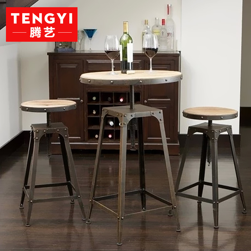 Teng yi wood american antique coffee table and chairs wrought iron bar stools bar chairs antique high chair leisure furniture