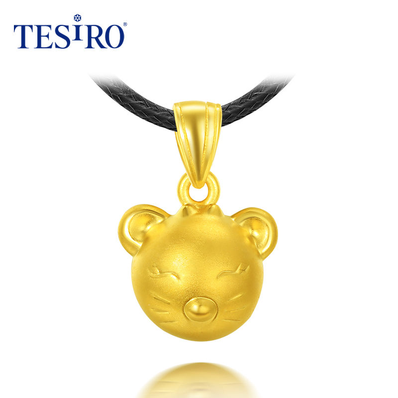 Tesiro psychic jewelry 3d hard gold twelve zodiac offspring genuine gold jewelry gold necklace pendants men and women