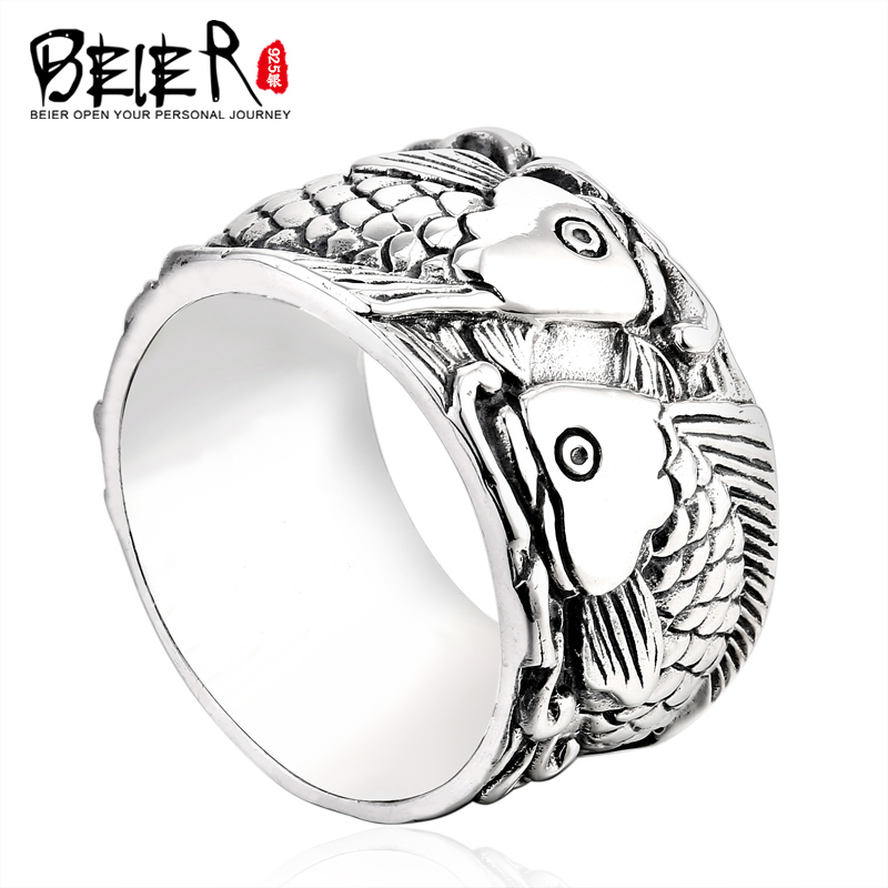 Thai silver ring 925 silver jewelry national wind ms. couple rings fashion jewelry with fish personalized ring
