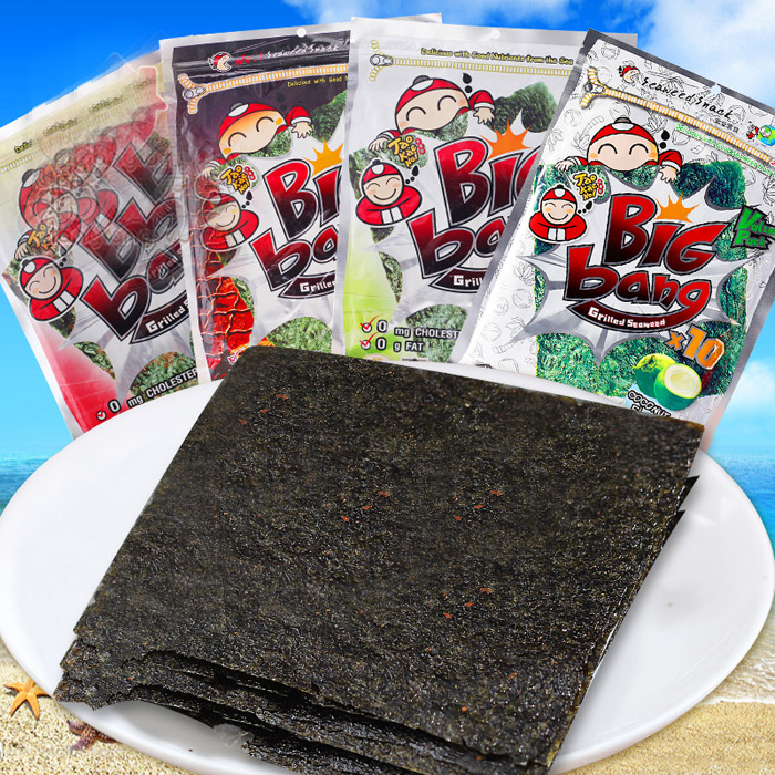 Thailand imported snacks small business owners big bang large piece of nori seaweed 60g roasted seaweed nori sheet 10 loaded