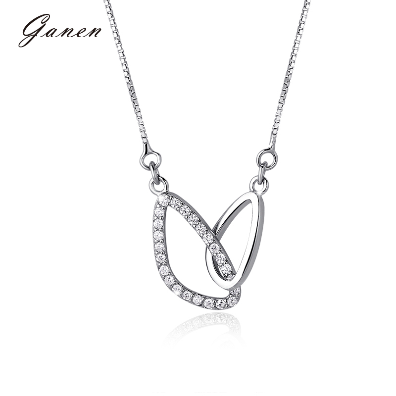 Thanksgiving counterparts subclavicular k white gold single diamond four claw diamond pendant diamond platinum diamond pendant necklace female