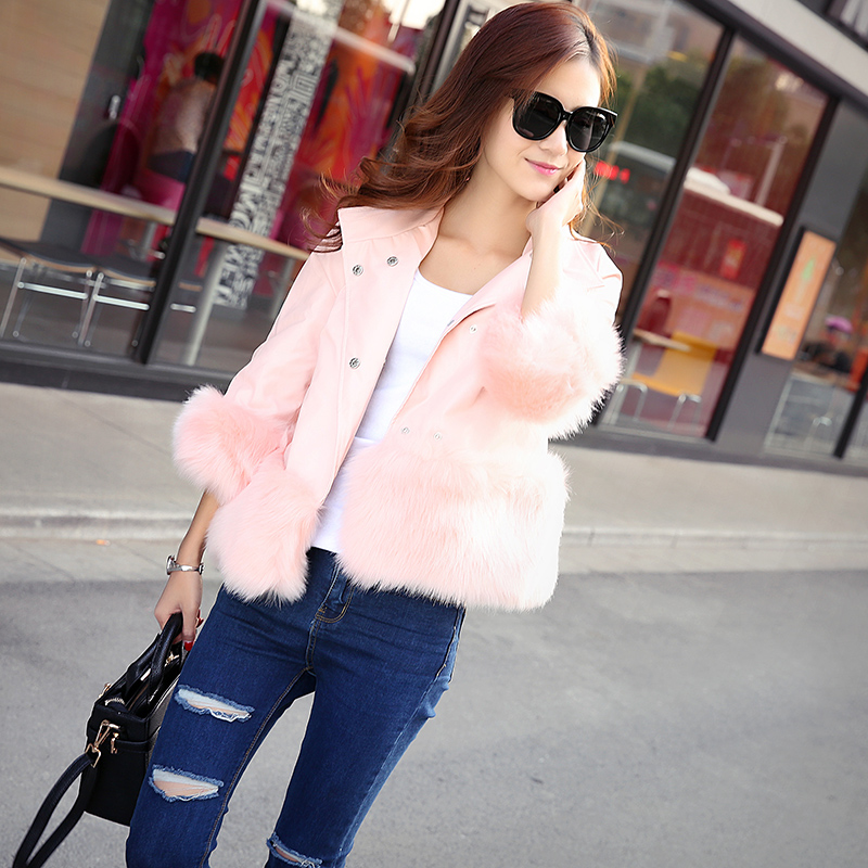 That guo that guo bear 2016 new autumn and winter simulation leather sheepskin fox fur leather women short paragraph korean version of cotton cotton jacket草加