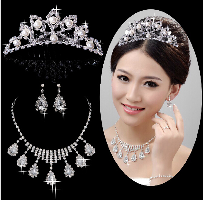 The bride crown necklace earrings set bridal necklace bridal jewelry wedding jewelry crown earrings wedding accessories