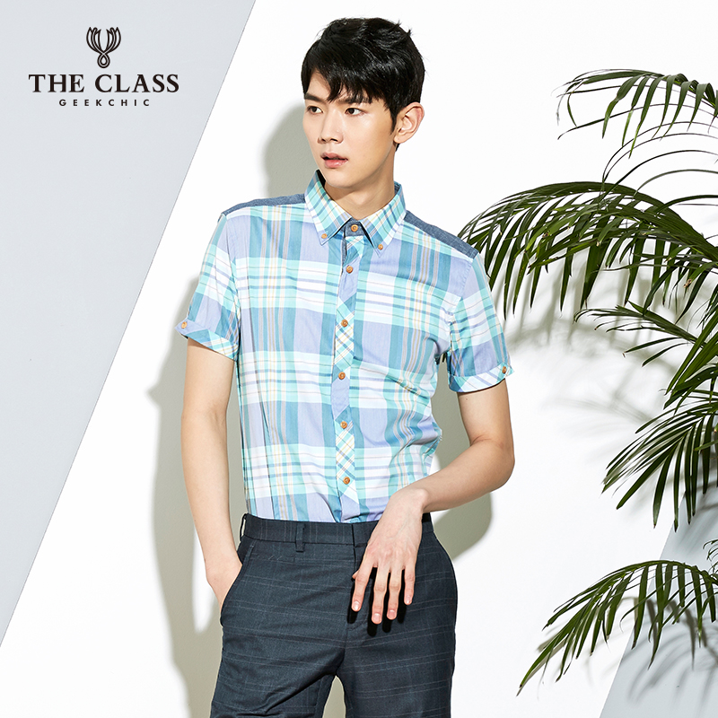 The class good summer casual short sleeve shirt men slim classic men's shirt CNWS417B