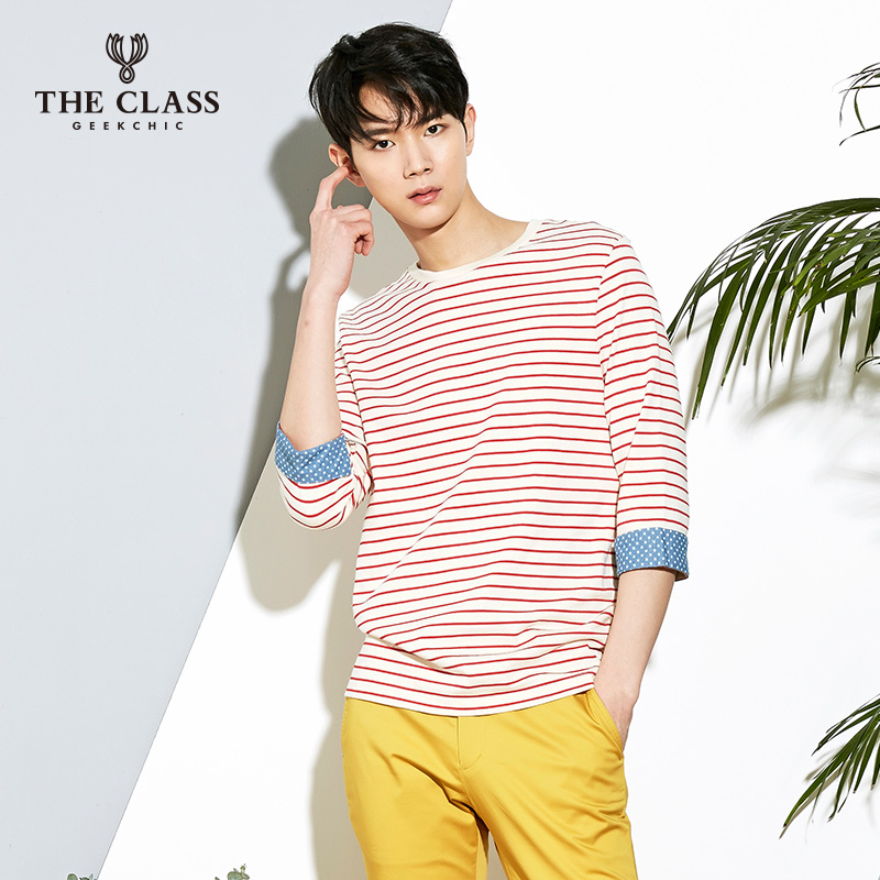 The class hundred good spring and autumn casual fashion slim round neck short paragraph fifth sleeve t-shirt men COTS110