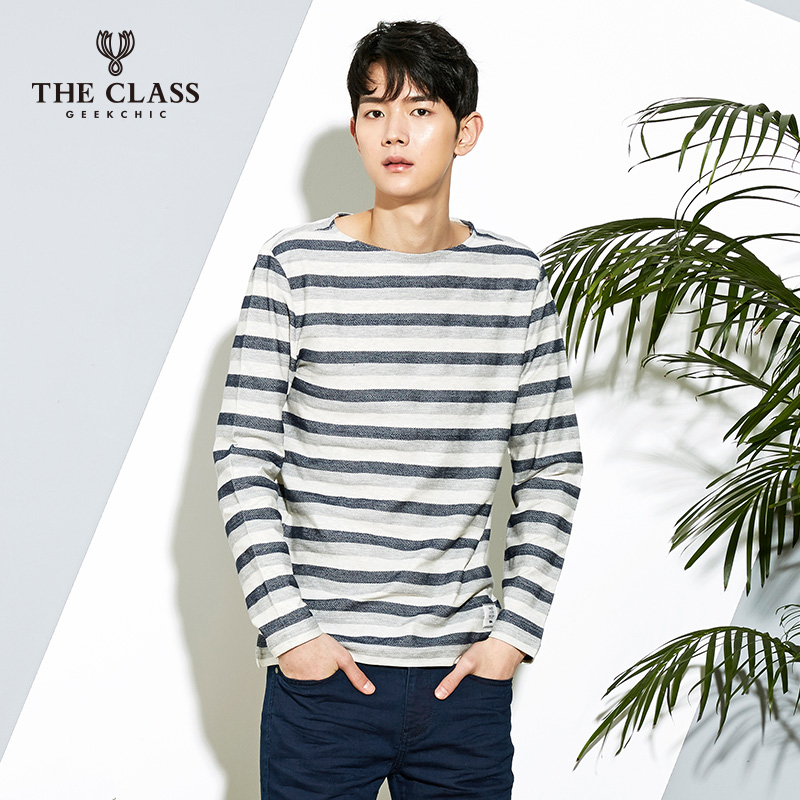 The class hundred good spring and autumn casual men's fashion cultivating wild round neck long sleeve t-shirt men COTS110D