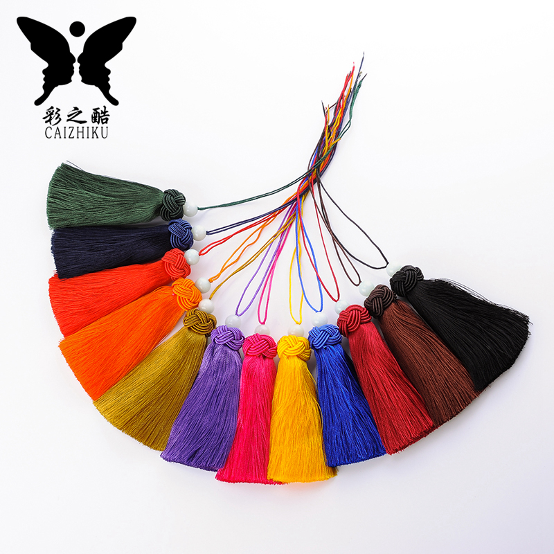 The cool color-china knot car hanging accessories hawaiien craft fringed tassel hanging ear hat knit hat thin ice silk tassel hanging ear