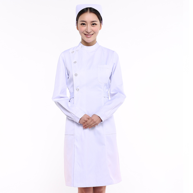 The director of the department of nursing medical nurse dr. bai dagua sleeved dress female winter false inspection beauty overalls partial lapel