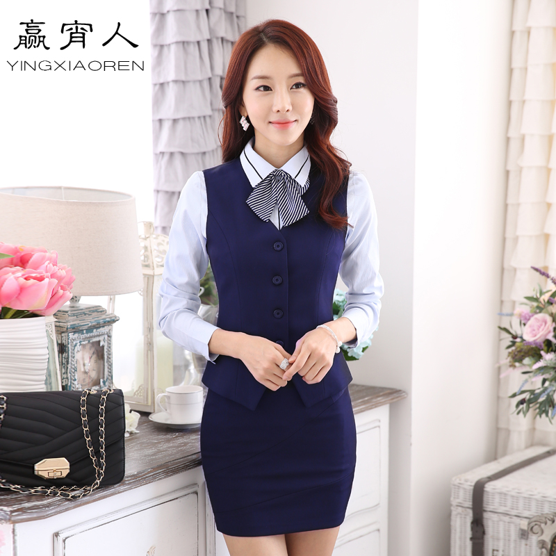 The hotel reception overalls fall and winter clothes waiter vest suit female foreman manager cashier clothing mobile telecommunications