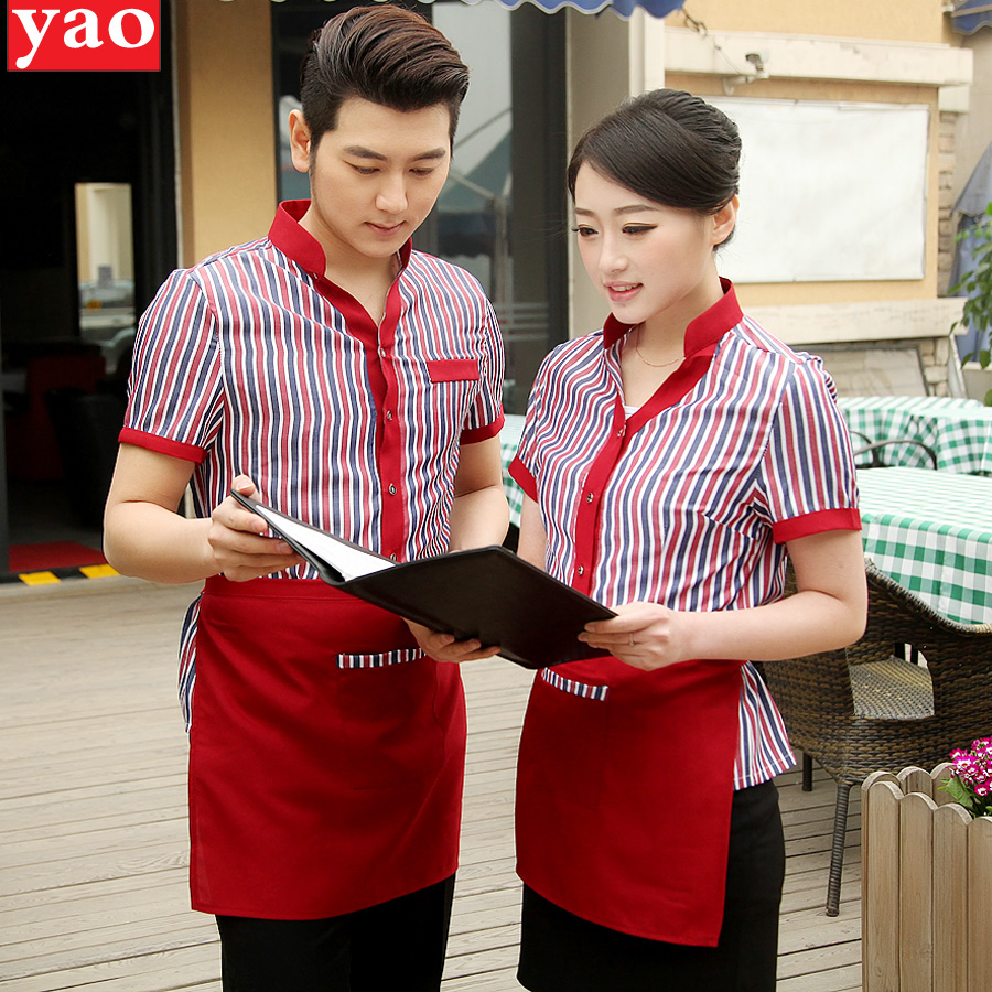 The hotel reception overalls summer female hotel restaurant waiter overalls sleeved casher male clothing uniforms