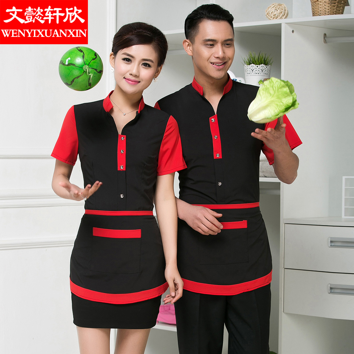 The hotel restaurant waiter overalls summer clothes for men and women overalls summer hotel restaurant waiter overalls sleeved