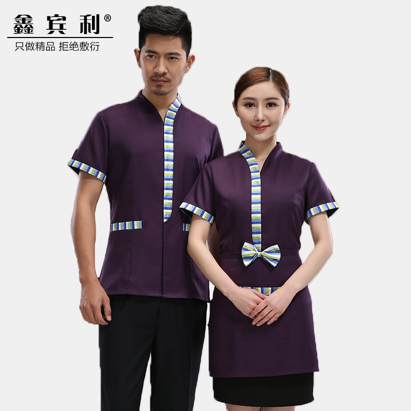 The hotel restaurant waiter overalls summer female western hotel restaurant hot pot restaurant waiter sleeved overalls