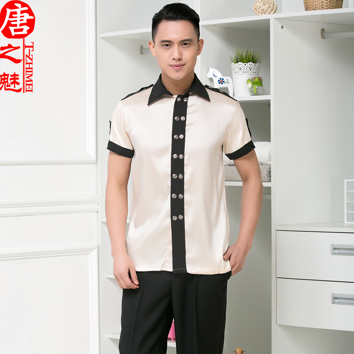 The hotel restaurant waiter overalls summer hotel restaurant uniforms sleeved overalls hotel restaurant waiter sleeved