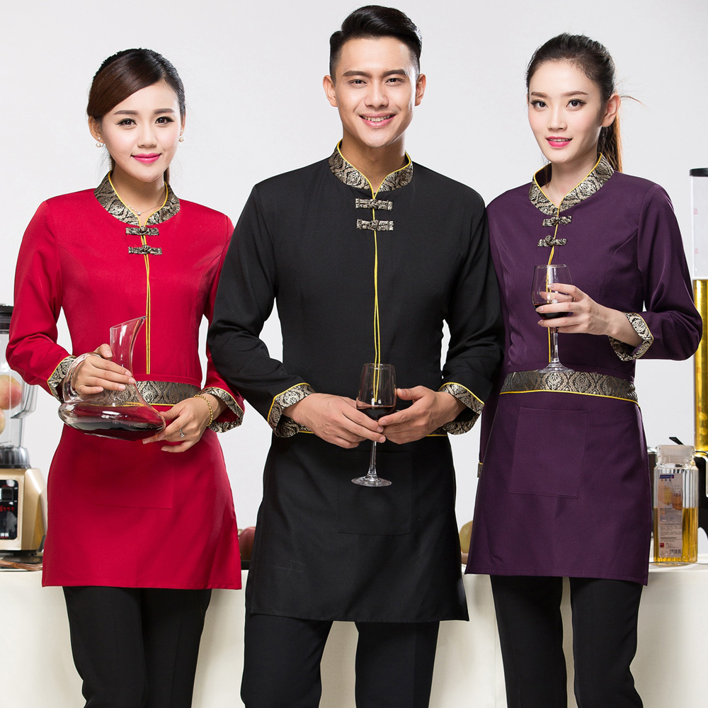 The hotel restaurant waiter sleeved overalls restaurant restaurant internet cafe chinese fast food restaurant hot pot restaurant fall and winter clothes for men and women