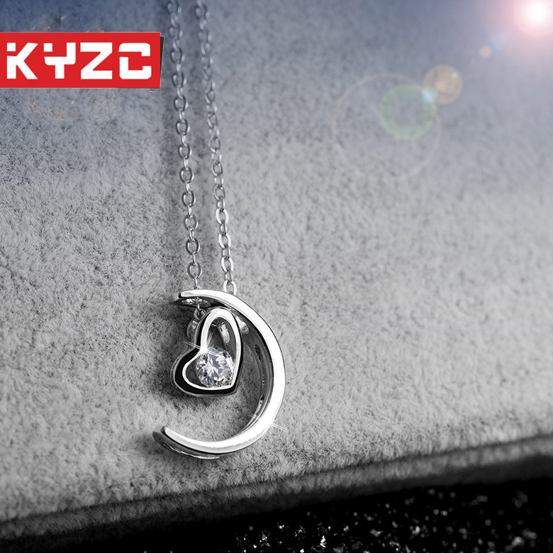The moon represents my heart twelve constellation couple s925 silver pendant silver chain necklace clavicle valentine's day gift