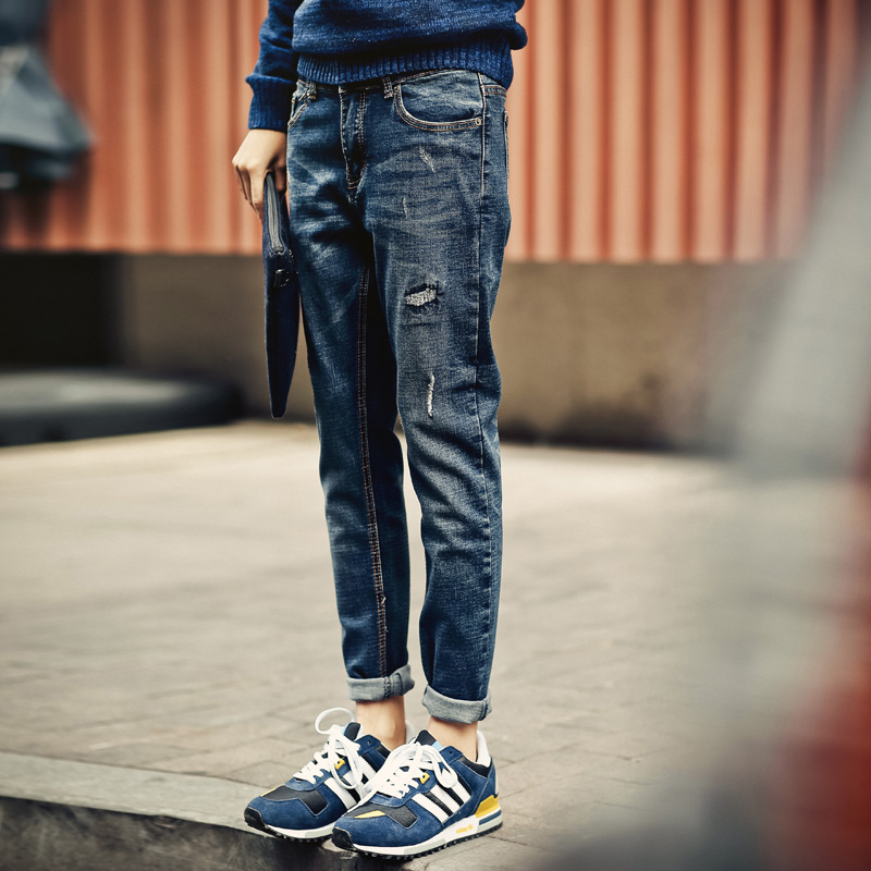 The new 2016 spring mens jeans feet pants male fashion casual pants trousers male youth popular tide