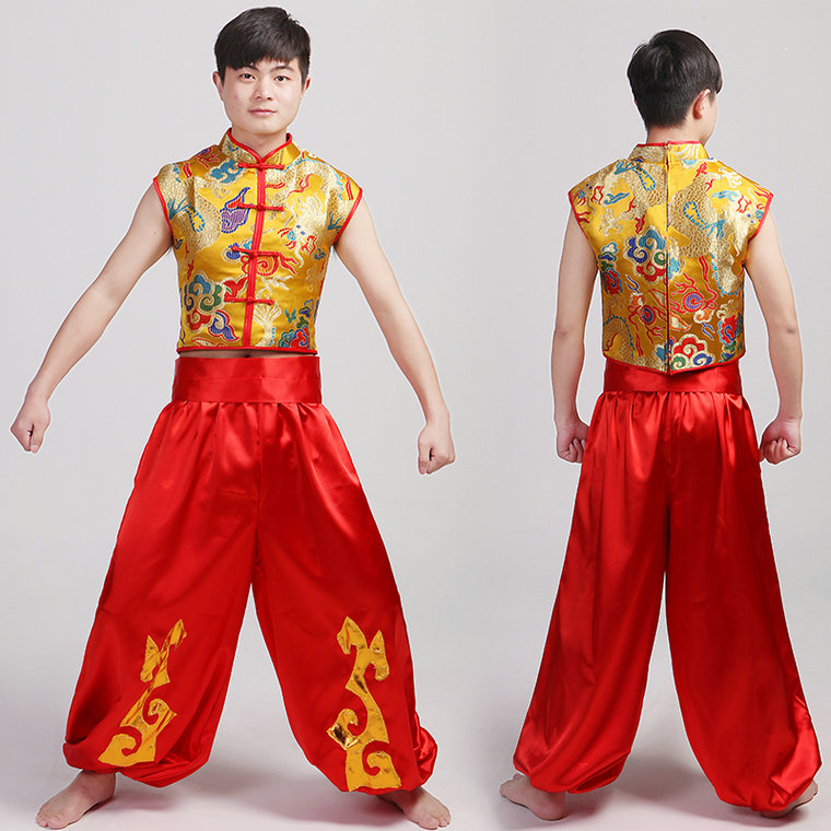 a8174f246 Man Chinese Folk Dance China Dragon Costume Male Younger Drum Dance Costumes  Spring Festival Stage Performance Clothes