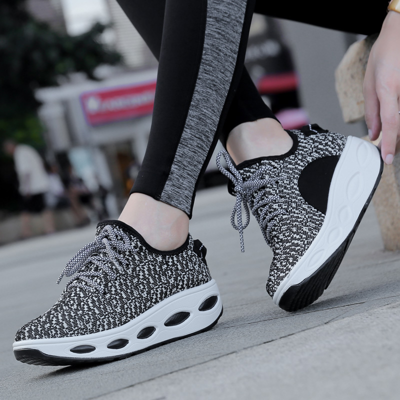 The new autumn and winter female autumn fly woven casual shoes bottomed sports shoes women shoes shook his elevator shoes breathable shoes korean version Women's shoes