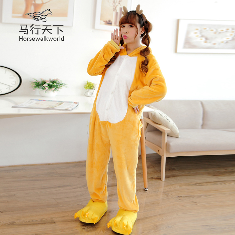 The new autumn and winter flannel tracksuit easily bear cartoon animal piece pajamas love apartment toilet edition
