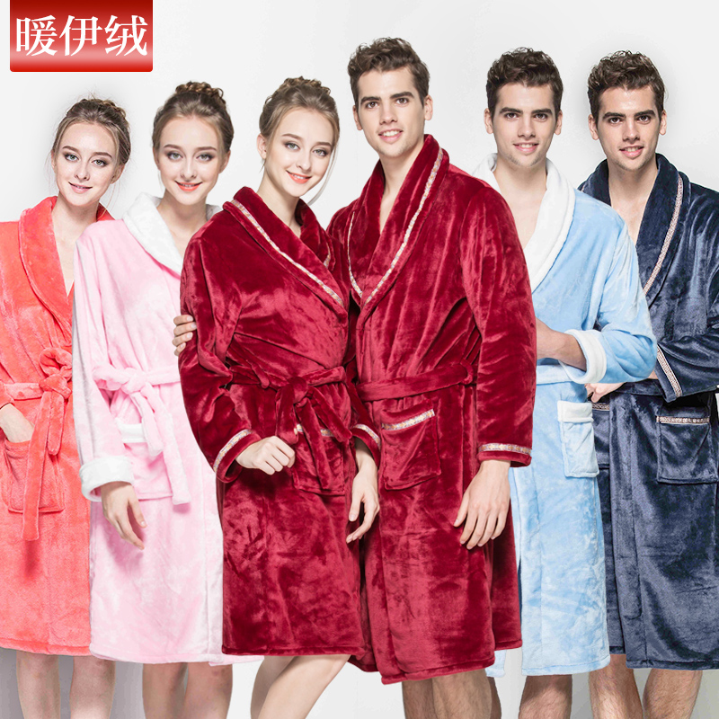 Get Quotations · The new autumn and winter thick flannel pajamas women  tracksuit men coral velvet robe couple bathrobe 844ef3242