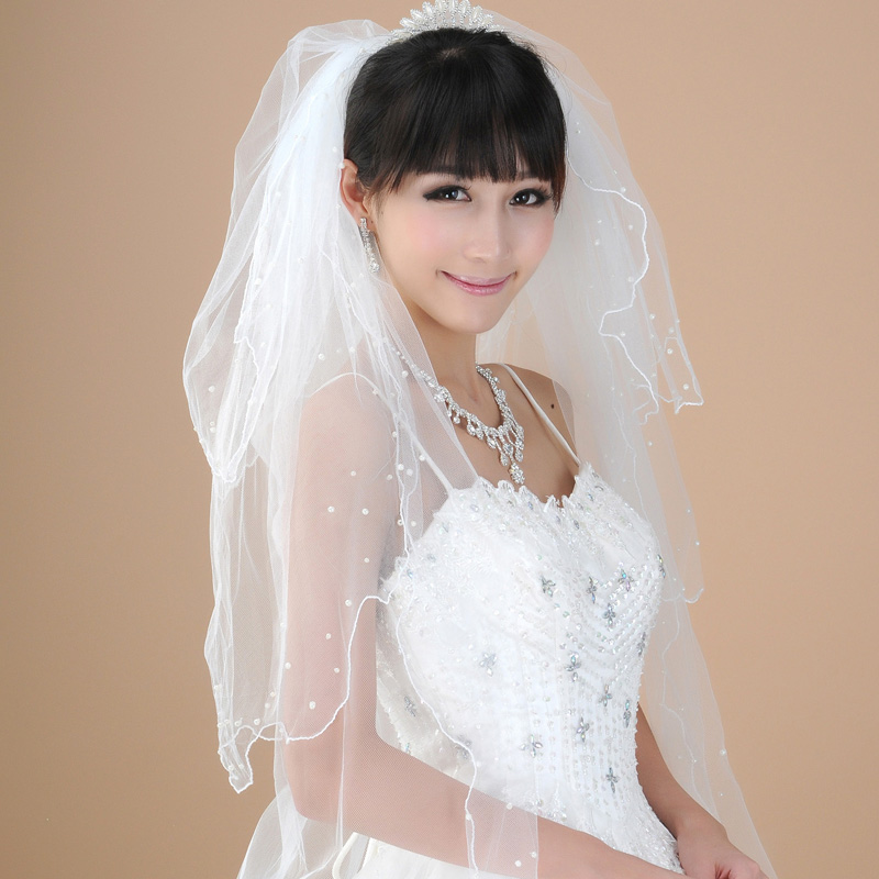 The new bridal veil ballet peng three pearl veil long section of multilayer veil white tutu veil accessories